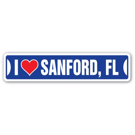 I LOVE SANFORD, FLORIDA Street Sign fl city state us wall road décor gift