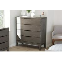 Baxton Studio Nash Rustic Platinum Wood 4-Drawer Chest