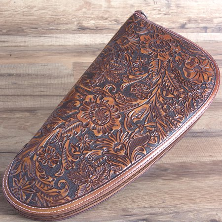 Bag Western Tooled Leather - M&F WESTERN LARGE NOCONA FLORAL TOOLED EMBOSSED LEATHER SAFE GUN CASE TAN