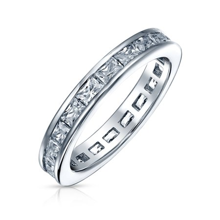 Simple Cubic Zirconia Channel Princess Cut CZ Stackable Wedding Band Eternity Ring For Women 925 Sterling Silver 2MM - image 3 of 3