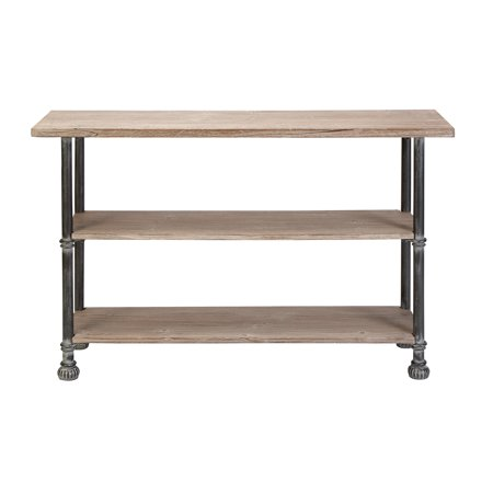 Decmode industrial 32 x 48 inch iron and wood three tier for Sofa table 48 inches