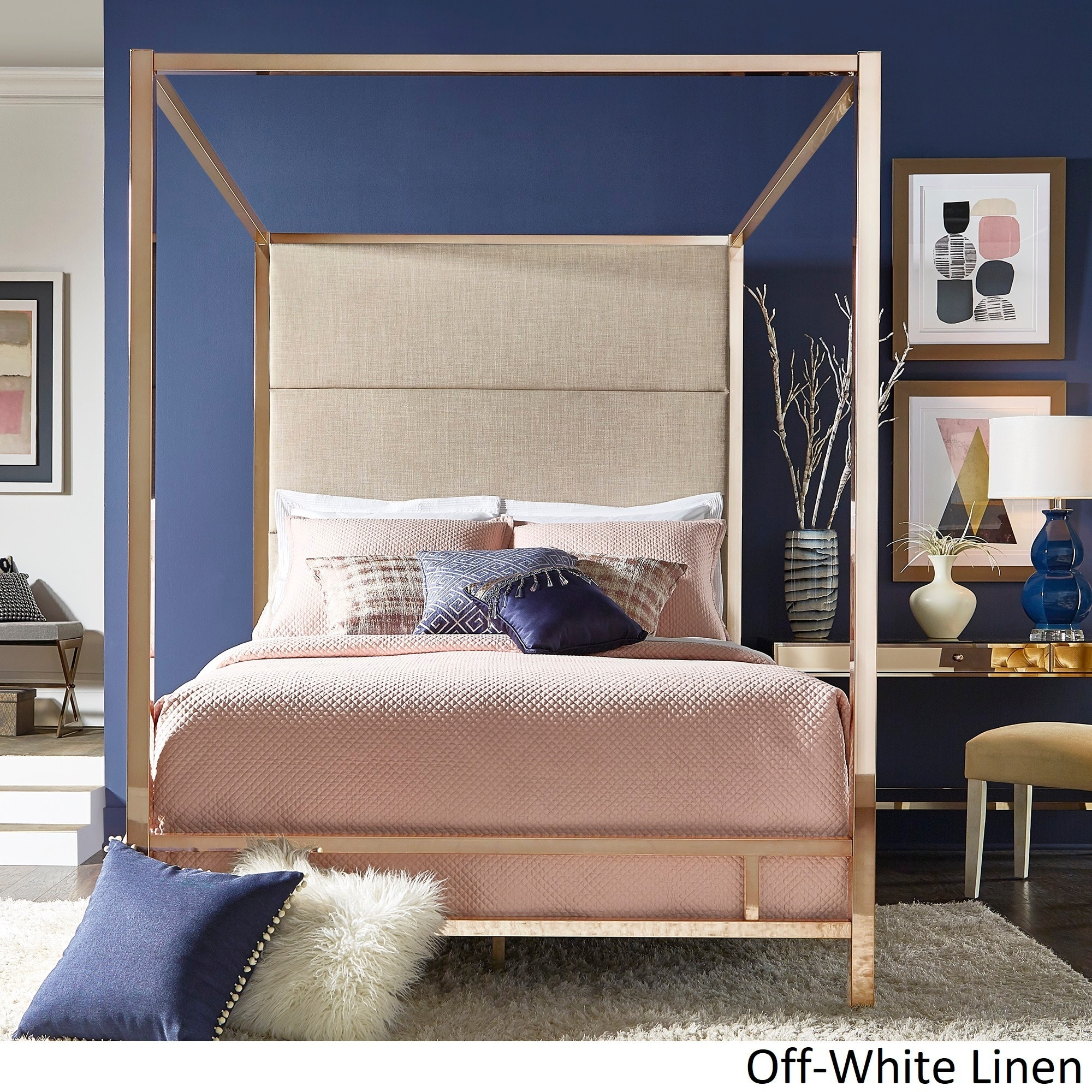 Inspire Q Evie Champagne Gold Metal Canopy Bed With Linen Panel Adboard By Bold