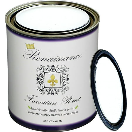 Renaissance Chalk Finish Paint - Snow Quart (32oz) - Chalk Furniture & Cabinet Paint - Non Toxic, Eco-Friendly, Superior