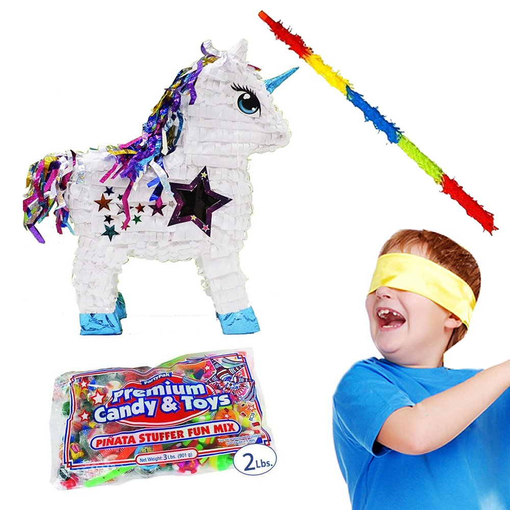 White Stardust Unicorn Pinata Kit Including Pinata, 2 Lbs. Filler, Buster Stick and Bandana