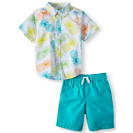 Wonder Nation Short Sleeve Button Down & Shorts, 2pc Outfit Set (Toddler Boys)](Rhino Outfit)