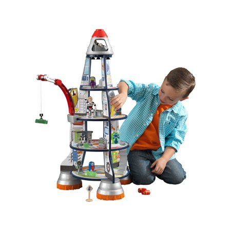 KidKraft Wooden 3-Section Rocket Ship Playset with Moving Crane, Astronauts, Aliens and - Astronaut Toy