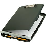 OfficeMate Slim Clipboard Storage Box with Low Profile Clip, Charcoal (83303)
