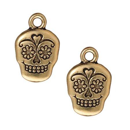 22K Gold Plated Pewter Dia De Los Muertos Sugar Skull Pendant Charm 19mm (1)