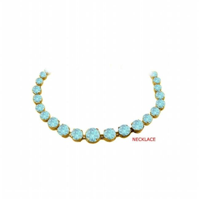 Fine Jewelry Vault UBUNKBK7205AGVYAQ Aquamarine Graduated Bead Necklace in 18KYellow Gold Vermeil 30 CT TGWMarch... by Fine Jewelry Vault