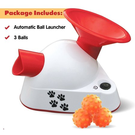 Automatic Ball Launcher Dog Fetch Toy Pet Tennis Ball Thrower Talking Pet