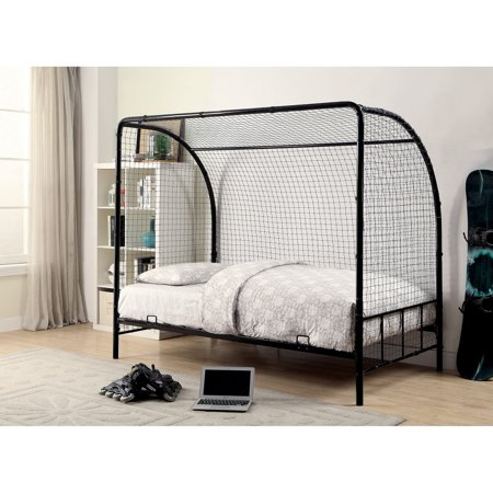 Metal Twin Size Soccer Goal Bed with Real Nylon Net, Black ()