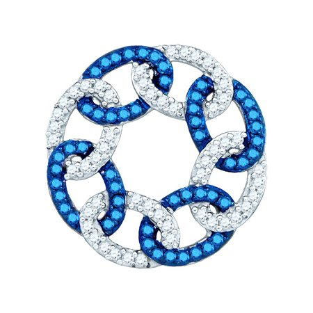 10kt White Gold Womens Round Blue Colored Diamond Circle Linked Pendant (.33 cttw.) Blue Circle Pendant