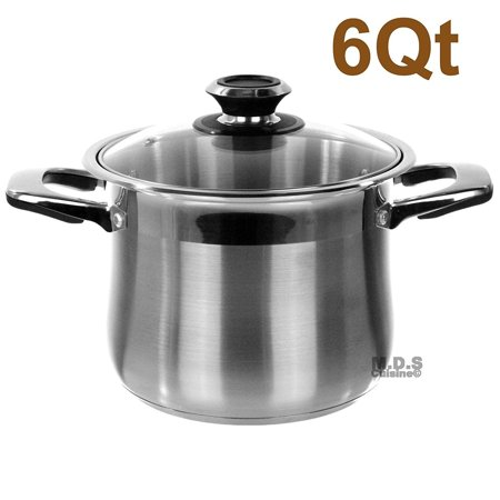 Stock Pot 6qt Stainless Steel Tri-Ply Encapsulated Bottom Dutch Oven -