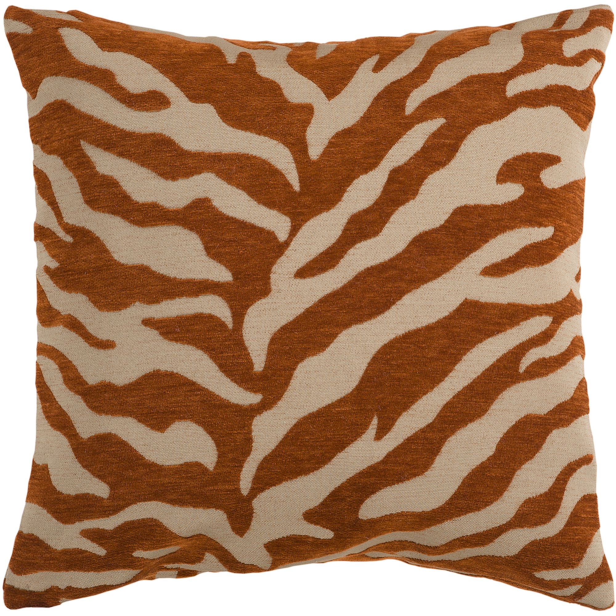 Art of Knot River Hand Crafted Zippy Zebra Decorative Pillow with Poly Filler, Rust