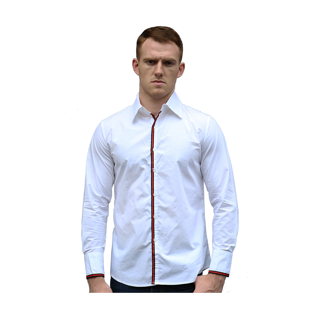 Unique Bargains Men's Long Sleeve Button Up Shirt With Stripe Trim White (Size M / 40)