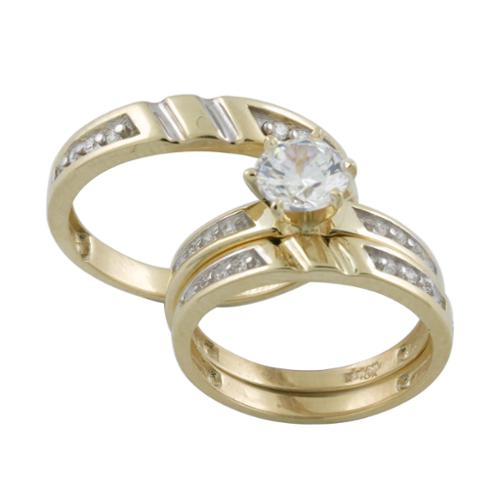 10k Gold Prong-set Cubic Zirconia Matching His and Hers Bridal-style Ring Set Womens 8, Mens 9