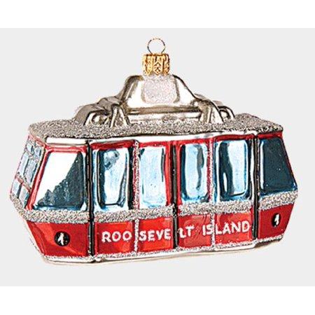 Roosevelt Island Cable Car Polish Glass Christmas Ornament New York City NY USA ()