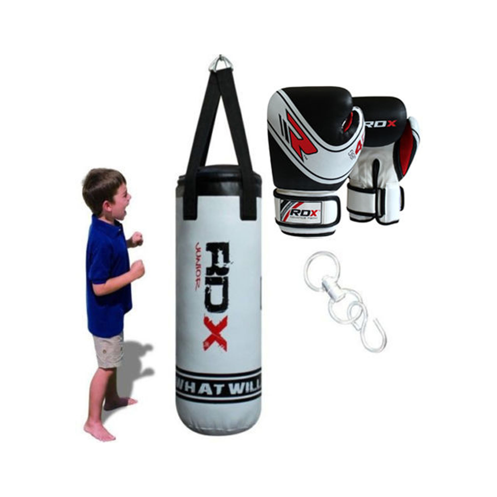 RDX MAYA HIDE LEATHER KIDS JUNIOR PUNCH BAG WHITE