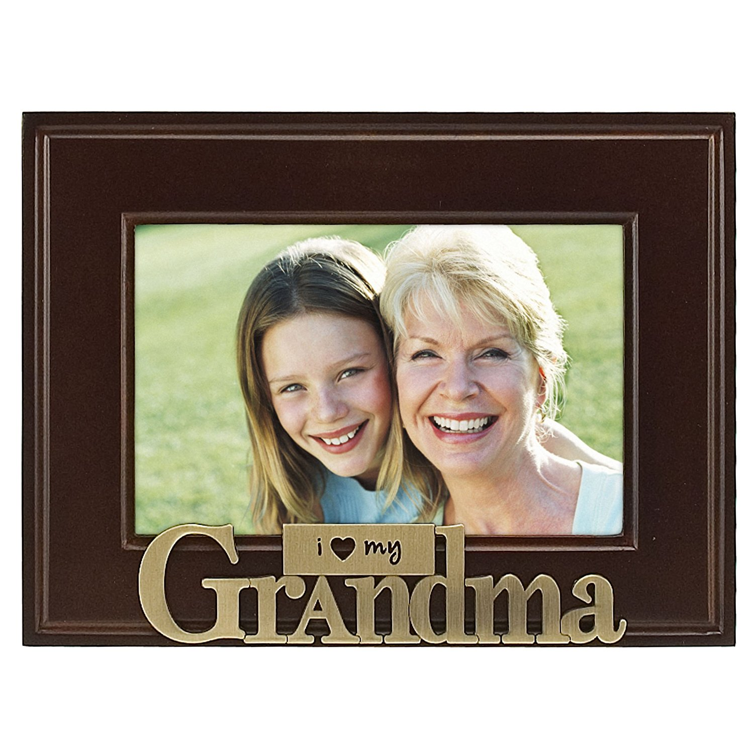 I Heart Brass Word Grandma Picture Frame 4x6 Brass Walnut Picture Frame With A Brass Heart Icon By Malden International Designs