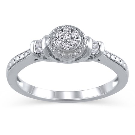 1/10 Carat T.W. Diamond Sterling Silver Cluster Promise Ring ()