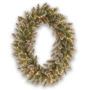"30"" Pre-Lit Glittery Pine Christmas Wreath - LED Lights"