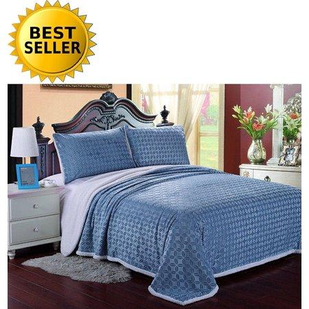 Elegant Comfort Luxury Sherpa Blanket On Amazon  Best Seller Micro Sherpa Ultra Plush Blanket   Full Queen  Aqua
