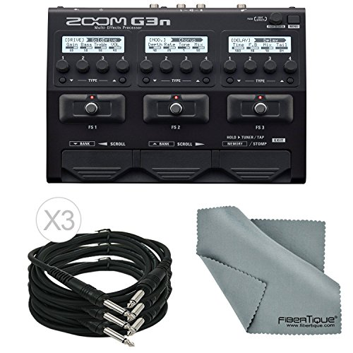 Zoom G3n Multi-Effects Processor for Electric Guitar Bundle with 3 X 1/4 Inch...