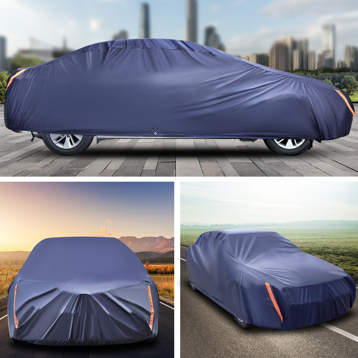 COLOR RAIN TIME Car Cover Waterproof All Weather UV Protection Windproof Dustproof Scratch Resistant Outdoor Universal Full Car Covers with Zipper for Sedan 185-191 inch