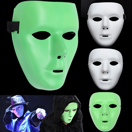 Masquerade Face Mask (Luminous Face Mask Masquerade Dance Hip-hop Jabbawockeez Halloween Costume Accessory)