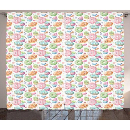 Dessert Whip - Dessert Curtains 2 Panels Set, Candy Shop Inspired Whipped Cream Topped Cupcakes Swirl Lollipops Macarons Donuts, Window Drapes for Living Room Bedroom, 108W X 63L Inches, Multicolor, by Ambesonne