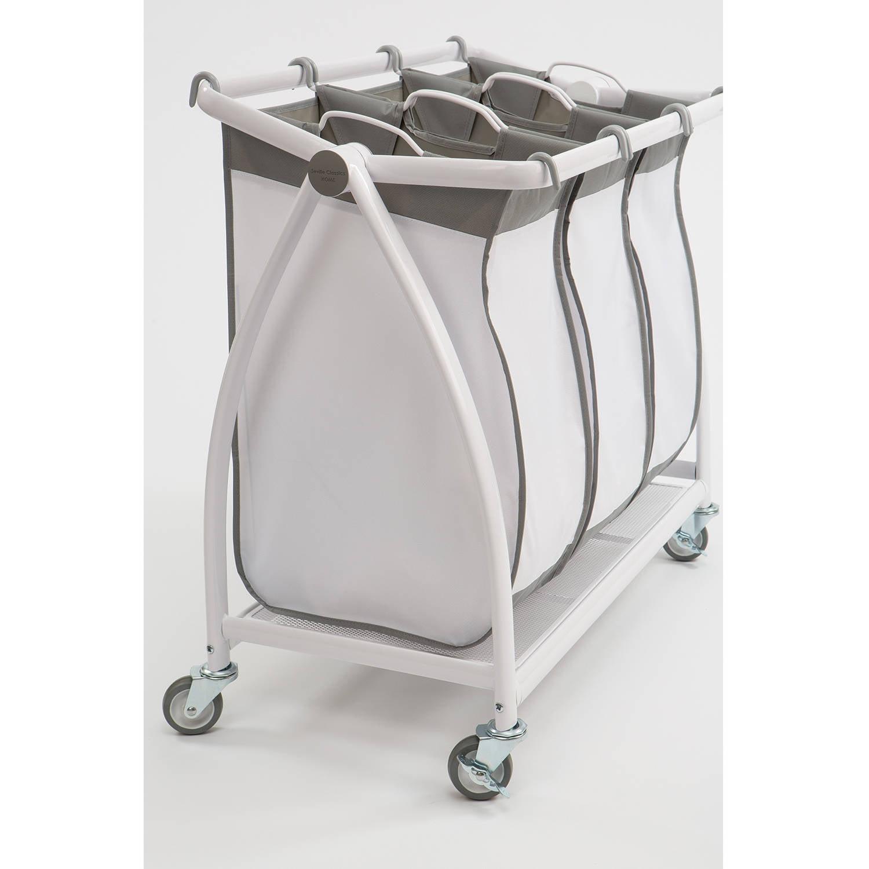 Seville Classics Premium 3 Bag Heavy Duty Tilt Laundry Hamper Sorter Cart