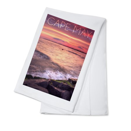 Cape May, New Jersey - Sunset Beach and Rocks - Lantern Press Photography (100% Cotton Kitchen Towel)