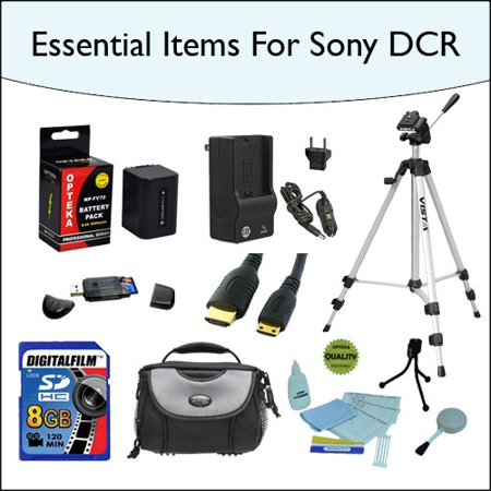 8GB Kit with Opteka NP-FV70 High Capacity Extended Battery, Tripod, Carrying Case and more for Sony SONY HDR-CX110 HDR-CX150 HDR-CX300 HDR-CX350 HDR-CX500V HDR-CX550V HDR-CXR150 XR350V XR550V