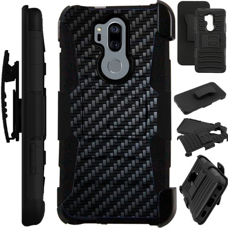 quality design 69d46 e9821 For LG G7 ThinQ   LG G7 Case Armor Hybrid Silicone Cover Stand LuxGuard  Holster (Black Carbon Fiber Print)