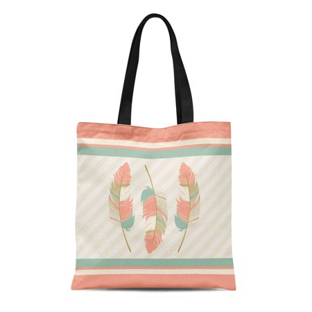 LADDKE Canvas Tote Bag Popular in Coral Mint Green and Cream Pattern Styles Reusable Handbag Shoulder Grocery Shopping Bags