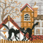 """City and Cats Autumn Counted Cross-Stitch Kit, 5"""" x 5"""", 16-Count"""