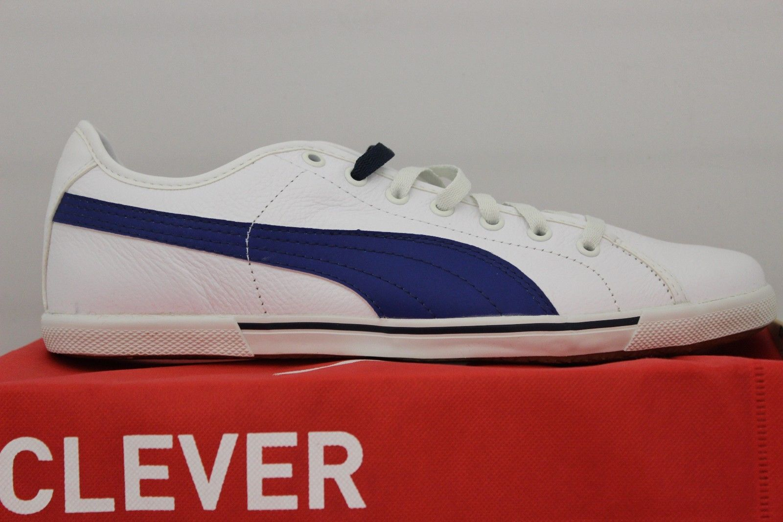 Men's Benecio Leather White/Blue 35103818 Economical, stylish, and eye-catching shoes