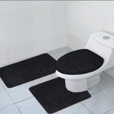 3 Piece Quinn Solid Bathroom Rug Set Bath Mat Contour