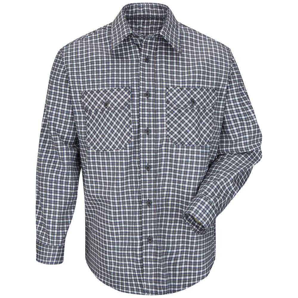 bulwark fr  navy/khaki plaid uniform shirt