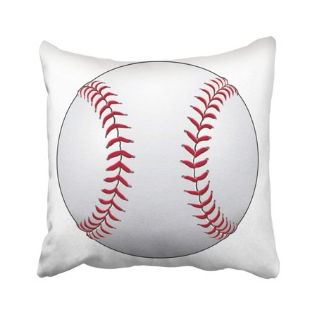 BPBOP Softball Baseball Is Of In White Leather With Red Stitches Ball Game Activity Equipment Pillowcase Throw Pillow Cover Case 18x18 inches