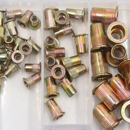 85Pcs Zinc Plated Carbon Steel Car Rivet Nut Flat Head Threaded Insert Nutsert Kit M3 M4 M5 M8 M12 - image 1 of 4
