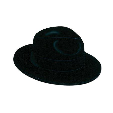 Club Pack of 24 Roaring 20's Black Velour Fedora Novelty - Christmas Fedora
