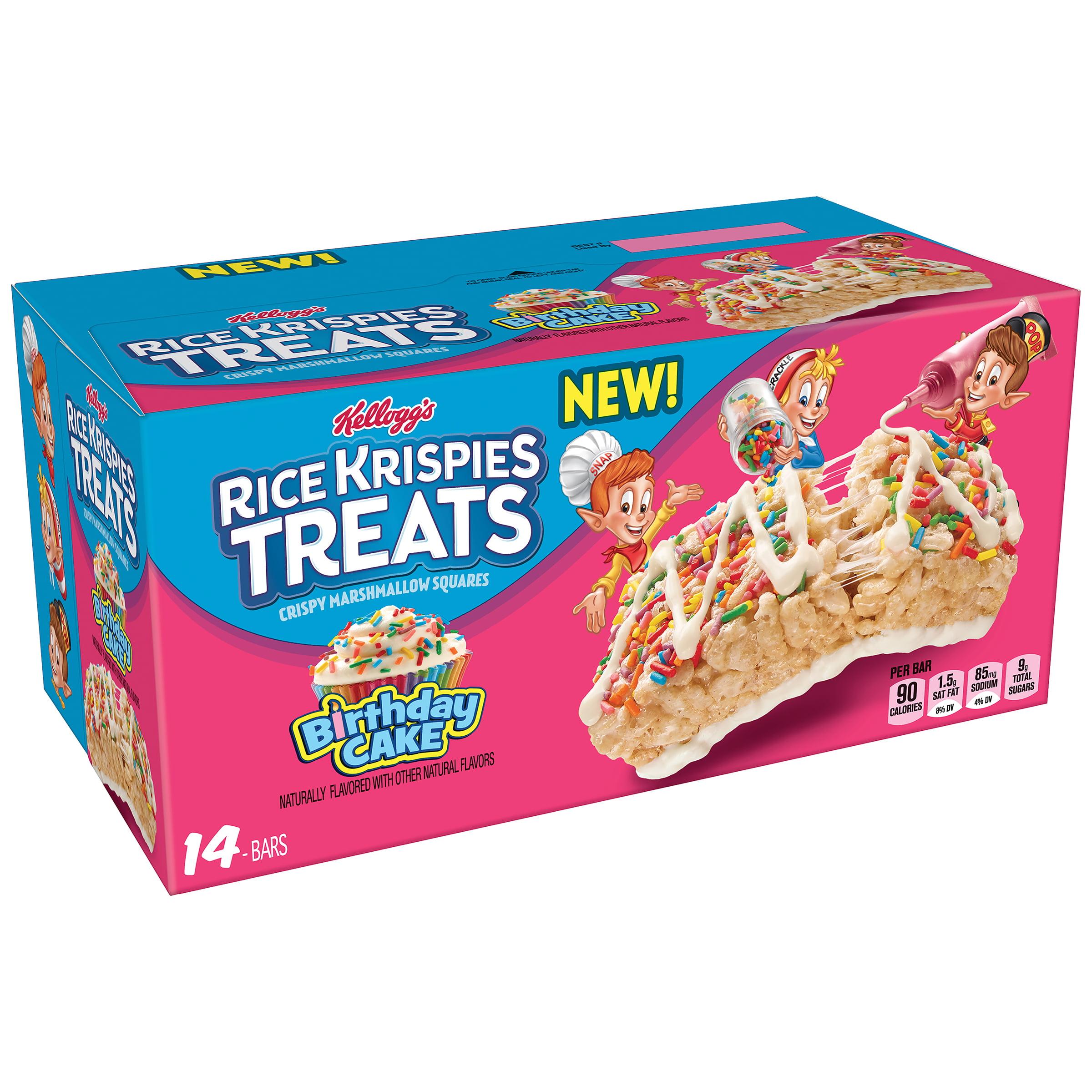 3 Pack Kelloggs Rice Krispies Treats Birthday Cake Crispy Marshmallow Squares 14 Ct 109 Oz