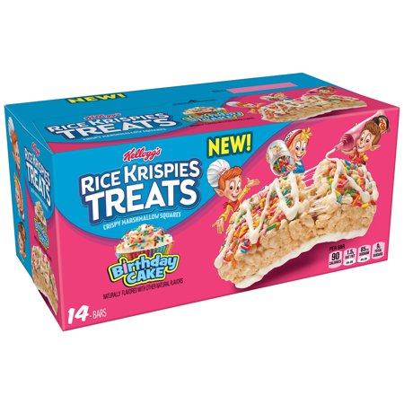 (3 Pack) Kellogg's Rice Krispies Treats Birthday Cake Crispy Marshmallow Squares 14 Ct 10.9 - Halloween Rice Krispie Squares