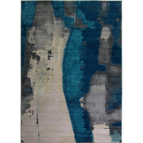 Ebern Designs Crossett Marble Teal/Gray Area Rug