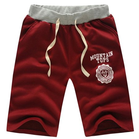 Comfortable Middle Waist Summer Men Casual Cotton Blended Beach Shorts Five Sub Pants Waistband Classic Elasticized Cuffs Wine Red