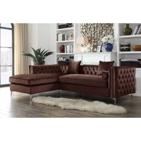 Chic Home Monet Velvet Modern Contemporary Button Tufted with Silver Nailhead Trim Silvertone Metal Y-leg Left Facing Sectional Sofa, Brown