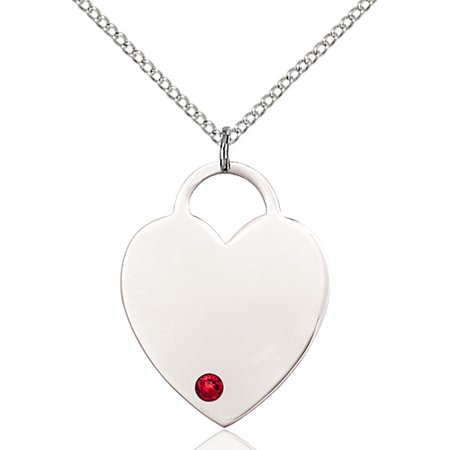 Sterling Silver Heart Pendant with 3mm July Red Swarovski Crystal 1 x 3/4 inches with Sterling Silver Lite Curb Chain ()