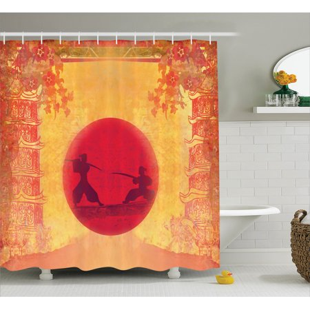 Japanese Decor Shower Curtain Set Two Warrior Ninjas In Sunset Figure Between Temples With Flowers Spiritual Battle Theme Bathroom Red Yellow