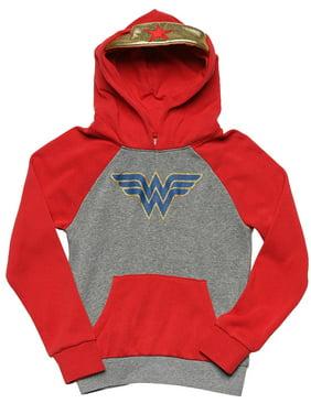 Girls Wonder Woman Sweatshirt Hoodie with Gold Tiara Gray Red (Big Girls)